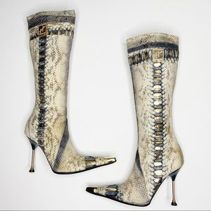 Hamlet Couture Cobra Gold Flake Heeled Boots 37